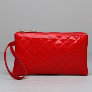 Patent Leather Rhombic Wristlet - RED