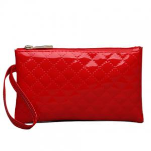 Patent Leather Rhombic Wristlet - Red - 39
