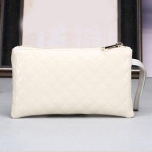 Patent Leather Rhombic Wristlet - OFF WHITE