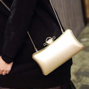 PU Leather Metal Trimmed Evening Bag -