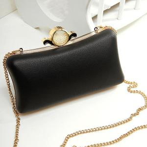PU Leather Metal Trimmed Evening Bag - Black