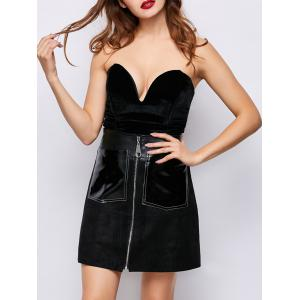 Strapless Velvet Low Cut Lace-Up Bodysuit