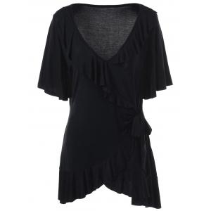 Asymmetric Plus Size Ruffled T-Shirt