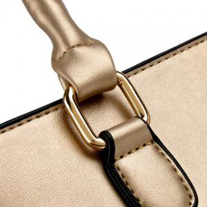 Stitching Handbag with Small Wallet - GOLDEN