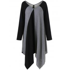 Plus Size Raglan Sleeve Asymmetrical T-Shirt