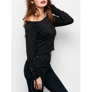 Lace Up Boat Neck Crop T-Shirt