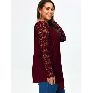 Lace Panel Plus Size Long Sleeve Tunic T Shirt -