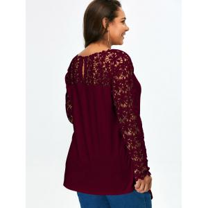 Lace Panel Plus Size Long Sleeve Tunic T Shirt - WINE RED 2XL