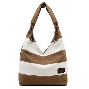 Casual Canvas Striped Shoulder Bag - Brown
