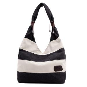 Casual Canvas Striped Shoulder Bag