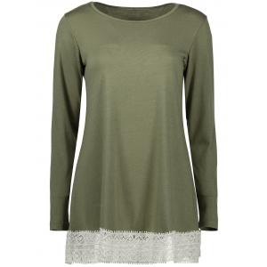 Lace Insert Long Sleeve Tunic T-Shirt
