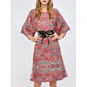 Tribal Print Slit Kimono Sleeve Dress