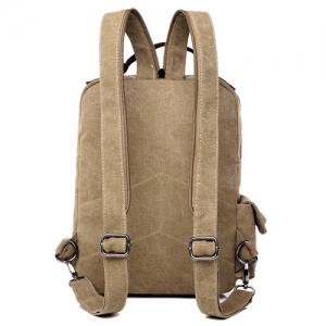Canvas Buckle Straps Convertible Backpack - KHAKI