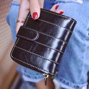 Stitching Bi Fold Faux Leather Small Wallet - Black