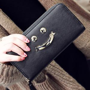 Zip Around Smiling Face Clutch Wallet