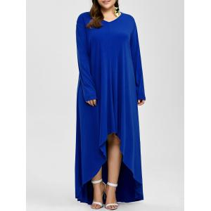 Plus Size High Low Long Sleeve Formal Evening Dress - Blue - 3xl