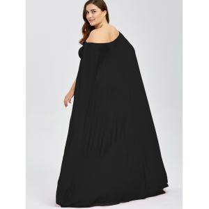 Off The Shoulder Plus Size Maxi Formal Long Prom Caped Dress - BLACK 5XL