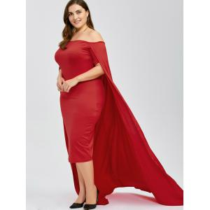 Off The Shoulder Plus Size Maxi Formal Long Prom Caped Dress - RED 3XL