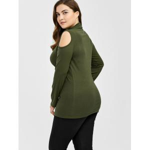 Plus Size Turtleneck Cold Shoulder Sweater - ARMY GREEN 3XL