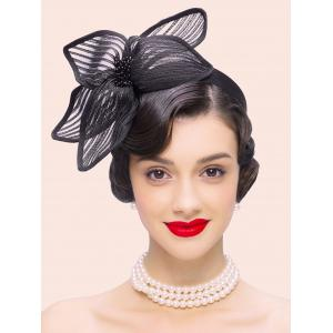 Cocktail Hairband Flower Shape Hat - Black