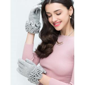 Wool Gloves with Flouncing -