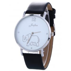 Faux Leather Elephant Quartz Watch