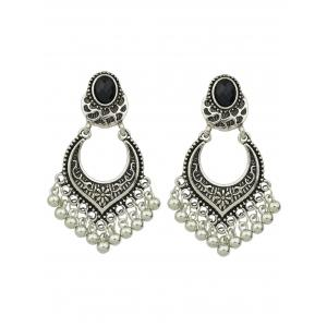 Beads Tassel Drop Earrings - Silver