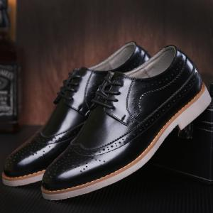 Wingtip PU Leather Formal Shoes - BLACK 42