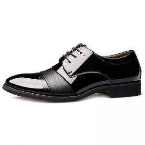 Pointed Toe Patent Leather Formal Shoes - BLACK 44