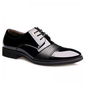 Pointed Toe Patent Leather Formal Shoes - Black - 42