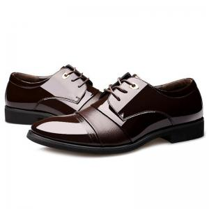Pointed Toe Patent Leather Formal Shoes - DEEP BROWN 41