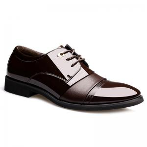 Pointed Toe Patent Leather Formal Shoes - Deep Brown - 40