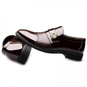 Metal Embellished Faux Leather Formal Shoes - DEEP BROWN 42