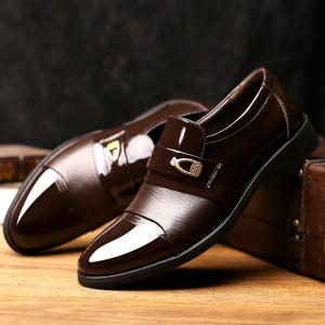 Metal Embellished Faux Leather Formal Shoes -