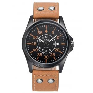 Faux Leather Calendar Watch with Waterproof Design -