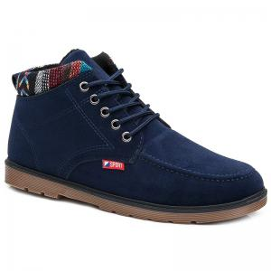 Suede Color Block Boots - Deep Blue - 41