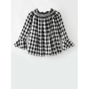Smocked Plaid Off The Shoulder Top - White And Black - S
