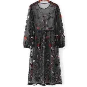 Mesh Floral Embroidered Long Sleeve Dress - BLACK M