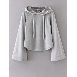 Bell Sleeve Pullover Hoodie - Gray - S