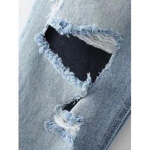 Light Wash Destroyed Jeans - LIGHT BLUE M