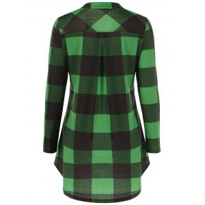 Split-Neck Long Plaid Boyfriend T-Shirt - GREEN 5XL