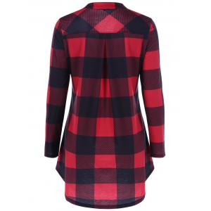 Split-Neck Long Plaid Boyfriend T-Shirt - RED WITH BLACK 5XL