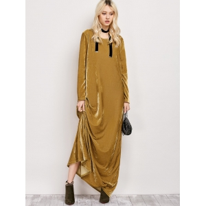 Floor Length Velvet Long Sleeve Casual Dress - EARTHY L