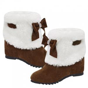 Wedge Heel Furry Snow Boots -