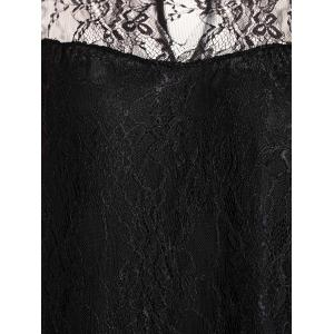 Stylish Round Collar 3/4 Sleeve Lace Spliced See-Through Women's Dress - BLACK XL