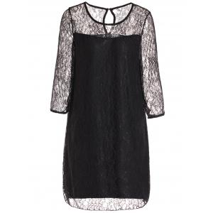 Stylish Round Collar 3/4 Sleeve Lace Spliced See-Through Women's Dress - Black - 2xl