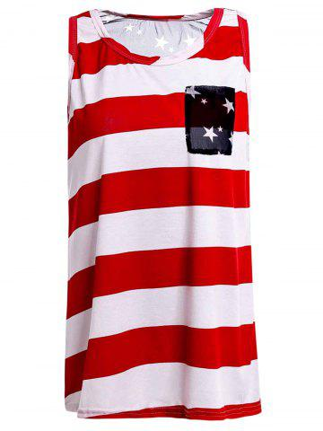 Outfits Stylish Scoop Collar Striped Star Print High-Low Hem Women's Tank Top RED S