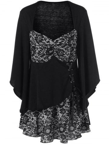 Store Lace-Up Floral Trim Layered Blouse