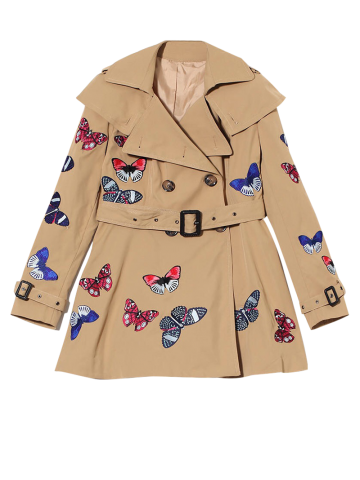Chic Butterfly Embroidered Double-Breasted Skirted Trench Coat - L KHAKI Mobile