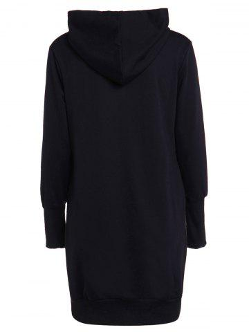 Shop Fashionable Solid Color Long Sleeve Loose-Fitting Hoodie For Women - 5XL BLACK Mobile